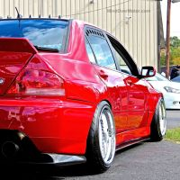 Stanced Mitsubishi Evo at First Class Fitment