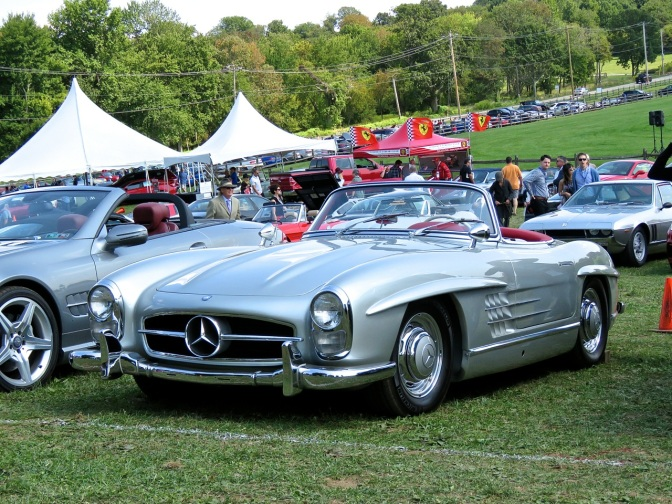 Mercedes 300SL Roadster in the corral at Radnor Hunt
