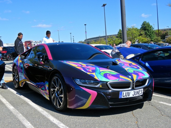 A very arty BMW i8 at Cars and Caffe
