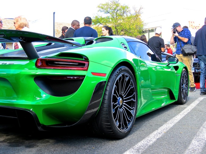 A mean green Porsche 918 at Cars and Caffe