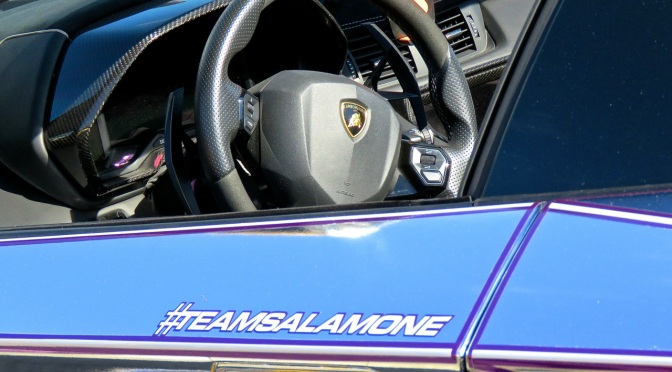 Team Salamone's Lamborghini Aventador SV Roadster with Chrome / Purple TRON Wrap