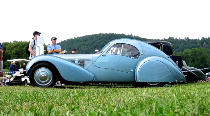 The Blue Bugatti Type 57 SC Atlantic Coupe at Lime Rock Park