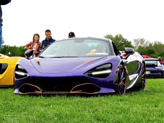 A wild purple McLaren 720S at Liberty State Park