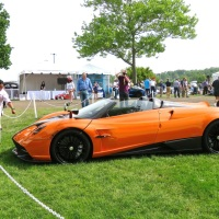 A Fire Orange Pagani Huayra Roadster at the Greenwich Concours