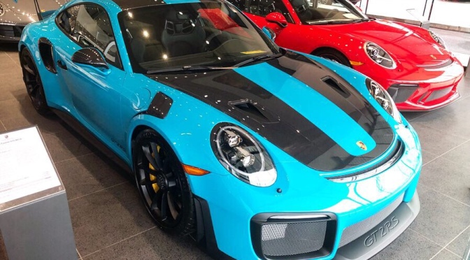 Porsche GT2 RS in Miami Blue at Porsche of Princeton